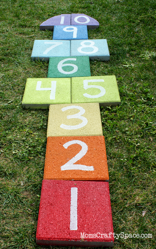 Easy Diy Rainbow Paver Hopscotch Happiness Is Homemade