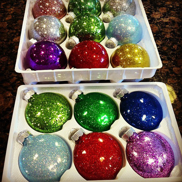 Glitter ornaments happiness is homemade