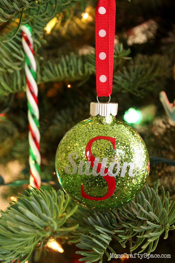 Personalized glitter ornaments happiness is homemade for Custom christmas tree ornaments