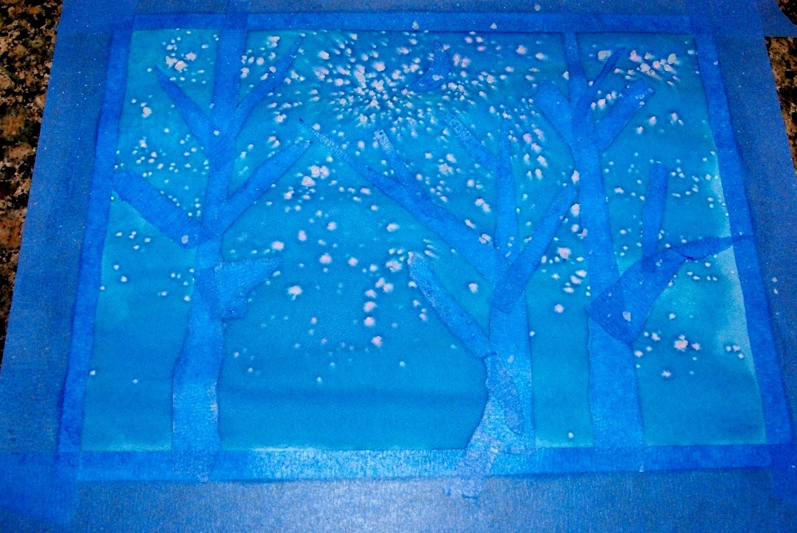 kids art watercolor winter trees happiness is homemade