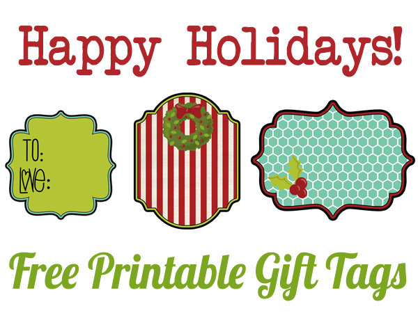 Free Printable Holiday Gift Tags - Happiness is Homemade