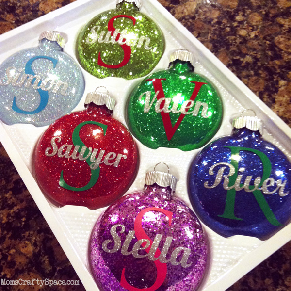 Personalized glitter ornaments happiness is homemade for Personalized christmas photo ornaments