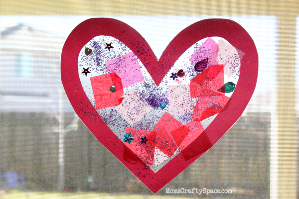 Toddler time simple valentine 39 s day heart suncatcher for Valentines day art and crafts for preschoolers